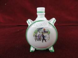 Zsolnay porcelán mini kulacs dugó nélkül. Antik pajzsmintás.