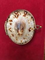 Régi kagyló rézveretes ékszertartó ,gyógyszeres szelence