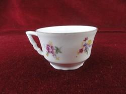Zsolnay porcelán manófüles kávéscsésze, színes virágokkal.