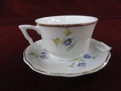 Zsolnay porcelán manófüles  kávéscsésze + alátét, apró virágmintával, pajzsmintás, antik.