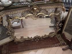 Hatalmas barokk stílusú réz fali tükör