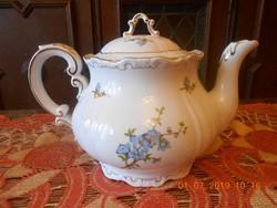 Zsolnay barokk, tollazott barackvirág mintás teáskanna, kiöntő.