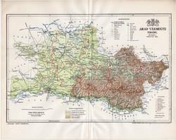 Arad megye térkép 1895 (3), lexikon melléklet, Gönczy Pál, 23 x 29 cm, vármegye, Posner Károly