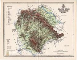 Belovár - Körös vármegye térkép 1896 (5), lexikon melléklet, Gönczy Pál, 23 x 29 cm, megye, Posner