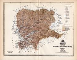 Beszterce - Naszód vármegye térkép 1896 (5), lexikon melléklet, Gönczy Pál, 23 x 30 cm, megye