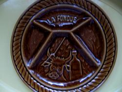 Sarreguemines majolika mártogatós, fondue tányér készlet