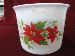 Zsolnay porcelán kaspó, Hófehér alapon piros/zöld mintával. Nem volt még használva.