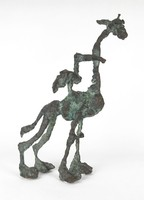 0X227 Tóth Ernő : Zsiráf és pelikán bronz szobor