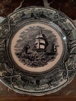 Fajansz tányér,hajóval