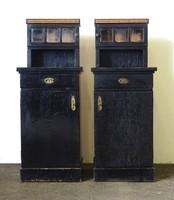 0X566 Antik intarziás fekete éjjeliszekrény pár