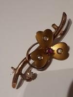 Karácsonyi akció!!! Antik 8k. (333) arany bross rubinnal  igazgyönggyökkel
