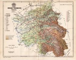 Bihar vármegye térkép 1896 (2), lexikon melléklet, Gönczy Pál, 23 x 30 cm, megye, Posner Károly