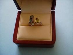 Akvamarin-peridot köves ezüst gyűrű
