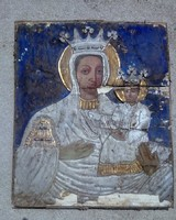 Antik MAGYAR IKON kép Madonna és kis Jézus GYÖNYÖRŰ paraszti kb. XVIII.sz.vége