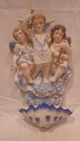 Jelzett nagy angyalkás porcelán fali szenteltvíztartó