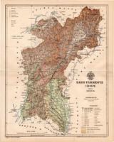 Bars vármegye térkép 1893 (6), lexikon melléklet, Gönczy Pál, 23 x 29 cm, megye, Posner Károly