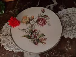 Fajanszbetétes rózsás edényalátét,tálca