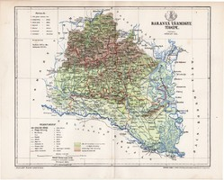 Baranya vármegye térkép 1895 (1), lexikon melléklet, Gönczy Pál, 23 x 29 cm, megye, Posber Károly