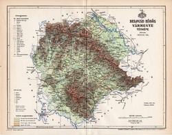Belovár - Körös vármegye térkép 1896 (6), lexikon melléklet, Gönczy Pál, 23 x 30 cm, megye, Posner