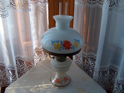 Petróleumos lámpa festett, nagy virágmintás, mutatós, hibátlan