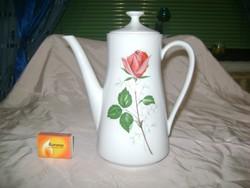 Rózsás porcelán teás kanna, teakiöntő