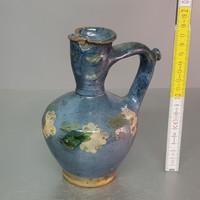 Kék mázas, virágmintás kerámia korsó (745)