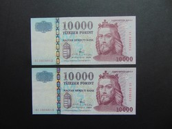 2 darab 10000 forint 2008 Sorszámkövető UNC !