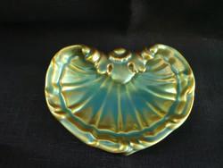 Zsolnay eozin kagyló alakú tálka/hamutál, hibátlan, gyönyörű árnyalatban