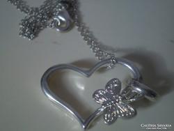 925-ös jelzésű szives-pillangós nyaklánc