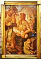 Hatalmas 155x105 cm!! Mágori Varga Béla (1897 - 1998) Nincs kenyér c festménye EREDETI GARANCIÁVAL