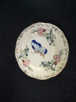 Zsolnay pillangós, jubileumi mini tányér, hibátlan, kicsit sötétebb árnyalatú