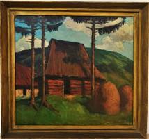 Krizsán János (1866 - 1948) Nagybányai táj c. olajfestménye 88x82cm EREDETI GARANCIÁVAL !!