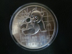 Kínai Panda 1989 uncia,színezüst!!!