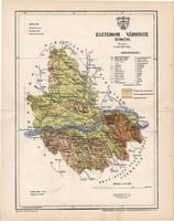 Esztergom vármegye térkép 1896 (2), lexikon melléklet, Gönczy Pál, 23 x 30 cm, megye, Posner Károly