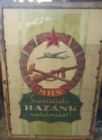 """Eredeti retro szocialista plakát - """"Hazánk védelméért"""" 68X47"""