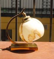 Art deco - Bauhaus réz asztali/fali lámpa - márványozott ernyővel