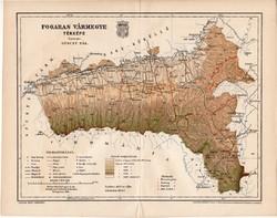 Fogaras vármegye térkép 1894 (6), lexikon melléklet, Gönczy Pál, 23 x 30 cm, megye, Posner Károly