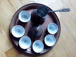 6db törökös mintázatú kávéscsésze kiöntővel