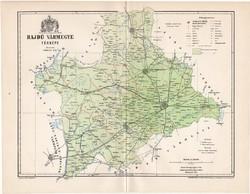 Hajdú vármegye térkép 1894 (6), lexikon melléklet, Gönczy Pál, 23 x 30 cm, megye, Posner Károly