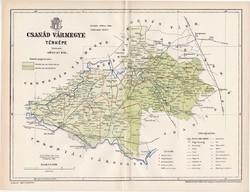Csanád vármegye térkép 1896 (2), lexikon melléklet, Gönczy Pál, 23 x 30 cm, megye, Posner Károly