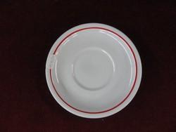 Zsolnay porcelán teáscsésze alátét piros csíkkal.