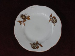 Zsolnay porcelán süteményes tányér. Barna virágmintával.