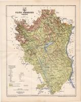 Fejér vármegye térkép 1896 (2), lexikon melléklet, Gönczy Pál, 23 x 30 cm, megye, Posner Károly