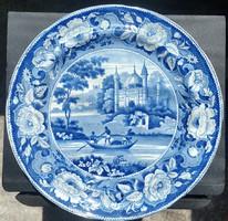 DAVENPORT horgonyszimbólummal jelzett  angol lapostányér kobaldkék keleti dekorral átmérője:24,5cm