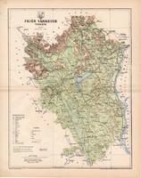 Fejér vármegye térkép 1894 (3), lexikon melléklet, Gönczy Pál, 23 x 29 cm, megye, Posner Károly