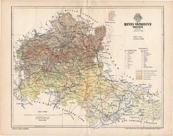 Heves vármegye térkép 1894 (1), lexikon melléklet, Gönczy Pál, 23 x 30 cm, megye, Posner Károly