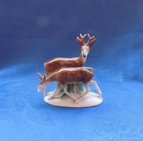 Foreign német porcelán őz pár figura 11,5 cm (po-2)