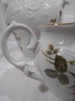 Porcelán - 19 db - jelzett - 3 oldalán festett - domború minta - kanna 1,5 liter -  24 x 23 cm