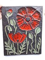 Retro iparművész virágos kerámia falikép - hangulatos nyári pipacsos falidísz