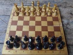 Régi nagyméretű fa sakk készlet